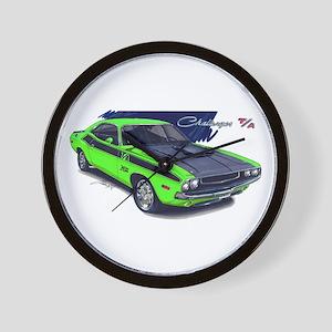 Dodge Challenger Green Car Wall Clock