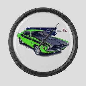 Dodge Challenger Green Car Large Wall Clock