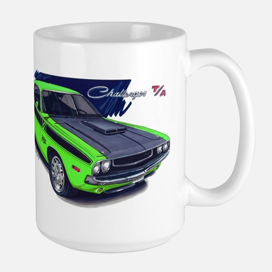 Dodge Challenger Green Car Large Mug