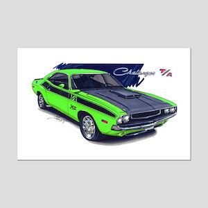 Dodge Challenger Green Car Mini Poster Print