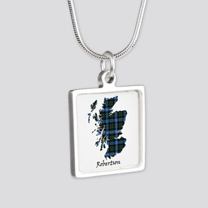 Map-Robertson hunting Silver Square Necklace