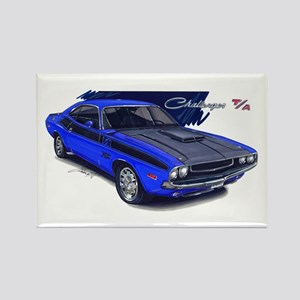 Dodge Challenger Blue Car Rectangle Magnet