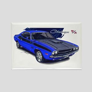 Dodge Challenger Blue Car Rectangle Magnet
