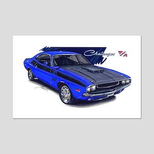 Dodge Challenger Blue Car Mini Poster Print