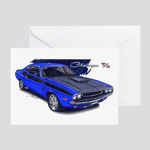 Dodge Challenger Blue Car Greeting Card