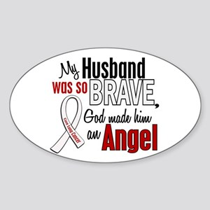 Angel 1 HUSBAND Lung Cancer Oval Sticker