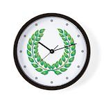 Green Laurel on White Wall Clock