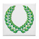 Green Laurel on White Tile Coaster