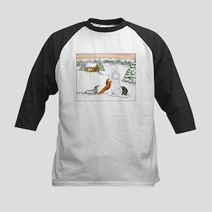 Longhaired Snow Dachshunds Kids Baseball Jersey
