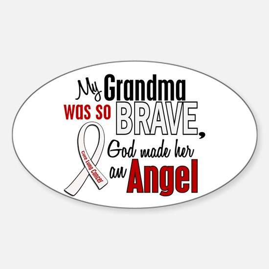 Angel 1 GRANDMA Lung Cancer Oval Decal