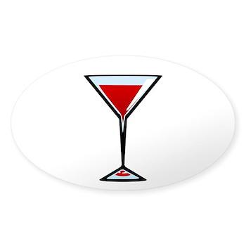 Vampire Martini Oval Sticker (50 pk)