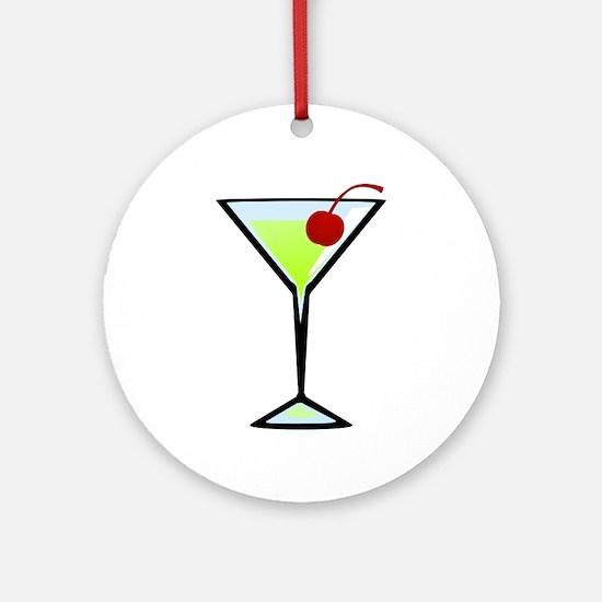 Green Apple Martini Round Ornament