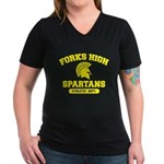 Fork High Women's V-Neck Dark T-Shirt