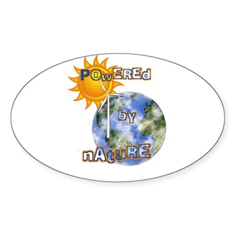 Powered By Nature Oval Sticker