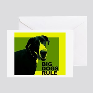 Big Dogs Rule! (Yellow Design) Greeting Cards (Pac