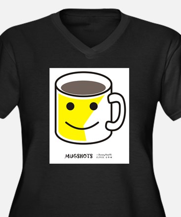 Mugshots Women's Plus Size V-Neck Dark T-Shirt