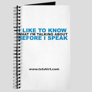I like to know what I'm talki Journal