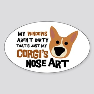 Corgi Nose Art Oval Sticker