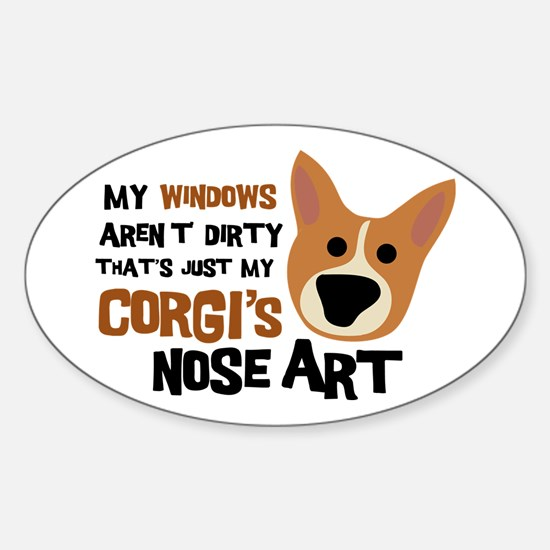 Corgi Nose Art Oval Decal