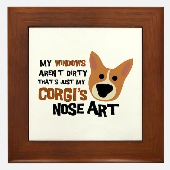 Corgi Nose Art Framed Tile
