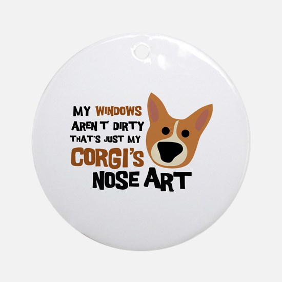 Corgi Nose Art Ornament (Round)