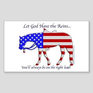Let God have the Reins Rectangle Sticker