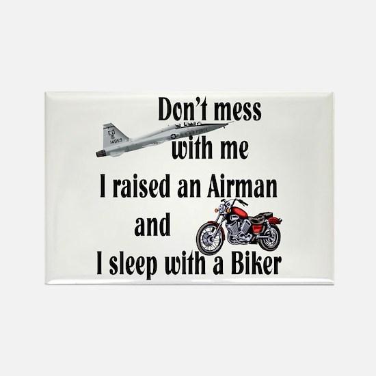 Raised Airman Sleep Biker Rectangle Magnet