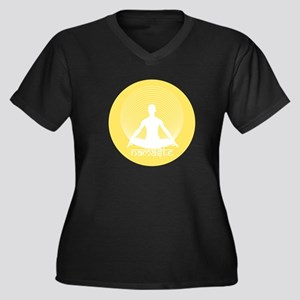 Namaste-Calm Women's Plus Size V-Neck Dark T-Shirt