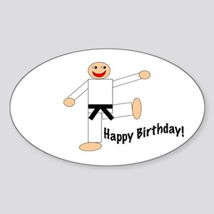 Black Belt Happy Birthday Oval Sticker