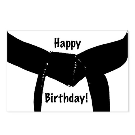 Martial Arts Black Belt Birthday Postcards 8pk