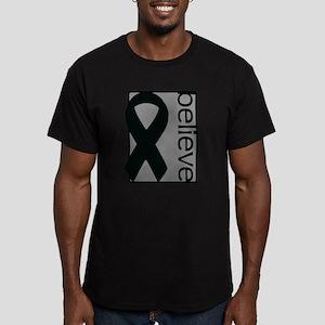 Gray (Believe) Ribbon Men's Fitted T-Shirt (dark)