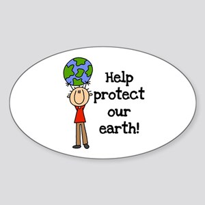 Boy Protect Our Earth Oval Sticker