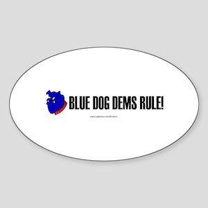"""""""Blue Dogs Rule"""" Oval Sticker"""