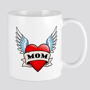 Mom Tattoo Winged Heart Mug