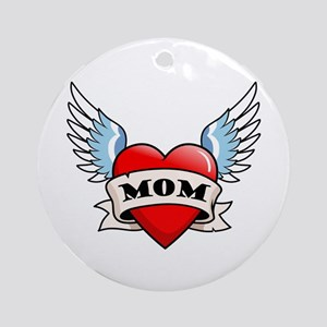 Mom Tattoo Winged Heart Ornament (Round)
