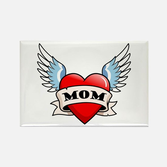 Mom Tattoo Winged Heart Rectangle Magnet (100 pack