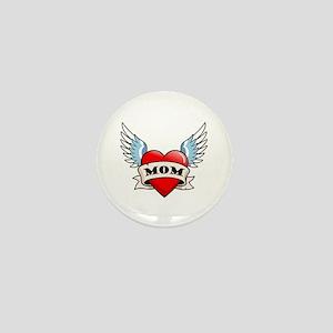 Mom Tattoo Winged Heart Mini Button