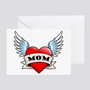 Mom Tattoo Winged Heart Greeting Card