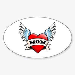 Mom Tattoo Winged Heart Oval Sticker