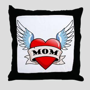 Mom Tattoo Winged Heart Throw Pillow