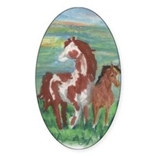Horse and Colt gift Oval Sticker