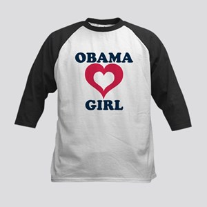 obama girl heart Kids Baseball Jersey