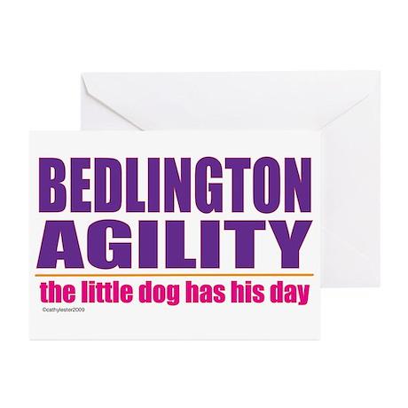 Bedlington Terrier Agility Greeting Cards (Pk of 2