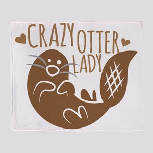 Crazy Otter Lady Throw Blanket
