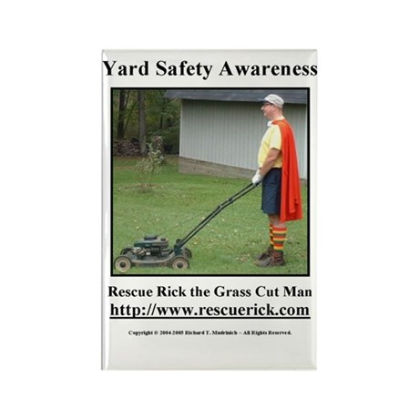 Yard Safety Awareness Rectangle Magnet