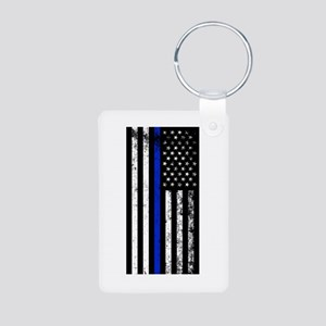 Vertical distressed police flag Keychains