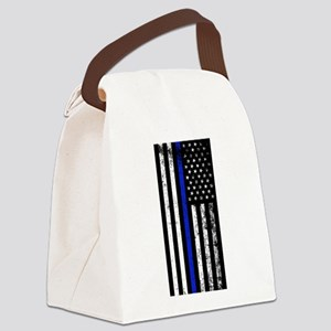 Vertical distressed police flag Canvas Lunch Bag