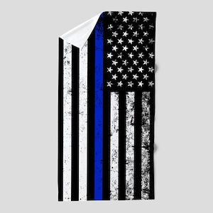 Vertical distressed police flag Beach Towel