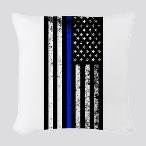 Vertical distressed police flag Woven Throw Pillow