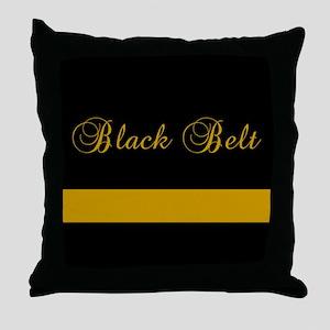 Black Belt Gold Bar Throw Pillow